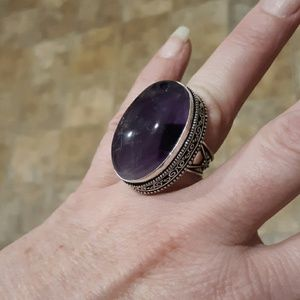 New Amethyst Antique Design Silver Ring. Size 8